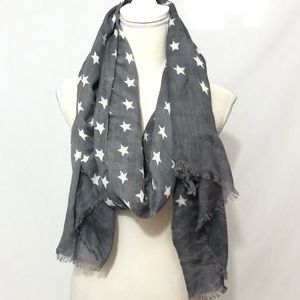Star pattern scarf/ wrap gray and white